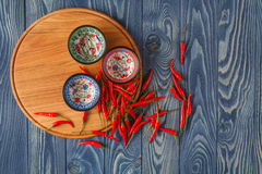 Free Fresh Red Hot Peppers And Pepper S Mix On The Wood Stock Photography - 77545262