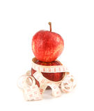 Fresh red  juicy  apples fruit and measure tape  on white backgr Stock Photography