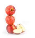 Fresh red  juicy  apples fruit on white background Stock Photo
