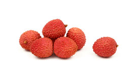 Fresh red litchee isolated close up on white Stock Images