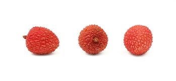 Fresh red litchee isolated close up on white Stock Image