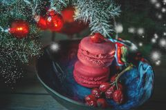 Fresh red macaron with berries of wild rose on the Christmas tree branches tables. Snow. Copy spaces. The horizontal frame Royalty Free Stock Image
