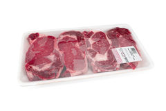 Fresh red meat packed in a poly bag. Royalty Free Stock Images