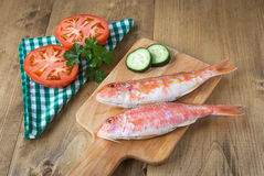 Fresh red mullet with tomatoes and parsley Royalty Free Stock Images