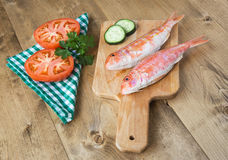 Fresh red mullet with tomatoes and parsley Stock Photography