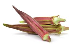 Fresh Red okra. Isolated on white background Royalty Free Stock Images