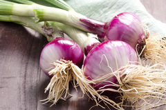 Fresh red onion bundle on wooden table background Royalty Free Stock Image