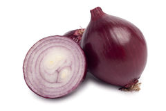 Fresh red onions. Red onion on white background stock photos