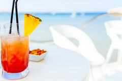 Fresh Red And Orange Cocktail Glass In Summer And Ocean Background Royalty Free Stock Photo