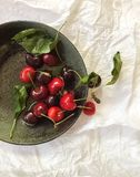 Fresh red cherries in a gray bowl, top view, on a white background royalty free stock photos
