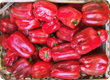 Fresh red pepper vegetable. Full format shot of red pepper. in a wooden bag in a market Royalty Free Stock Photos