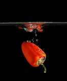 Fresh red pepper in water. Fresh red pepper splash in water on black background Royalty Free Stock Photography