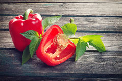 Fresh red pepper on wooden background stock photography