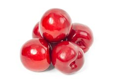 Fresh red plums on white background. Dieting royalty free stock photography