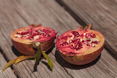 Fresh red pomegranate fruit. Punica granatum in summer Royalty Free Stock Photography