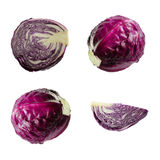 Fresh red purple cabbage vegetable on white background.Different camera angles. Fresh red cabbage with half a vegetable on white background Stock Photo