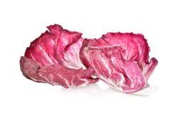Fresh red radicchio leaf on white background. Fresh red radicchio leaf on a white background Stock Photos