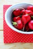 Fresh red radish in bowl. Food closeup Stock Photos