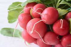 Fresh red radish. With leaves . Vegetable background Stock Image