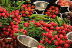 Fresh red radish on a market stall. Radish and other vegetables displayed in small metal bowls Royalty Free Stock Image