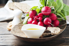 Fresh red radish with olive oil on the wooden table. Selective focus Royalty Free Stock Image