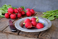 Fresh red radish for salad on wooden background. Healty food. Stock Photography