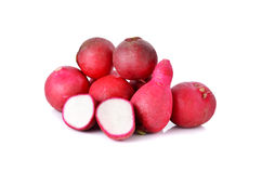Fresh red radish on white. Background Stock Photos