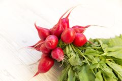 Fresh red radish on white wooden table. Closeup Stock Images