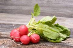 Fresh red radish on wooden background.  Stock Image