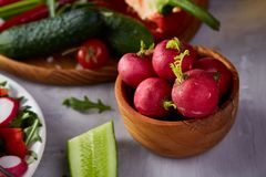Fresh red radish in wooden bowl in front of plate with vegetables, selective focus. Fresh red radish in wooden bowl in front of plate with vegetables on wthite Royalty Free Stock Photo