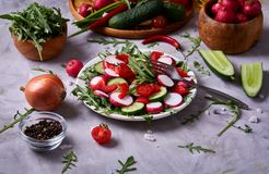 Fresh red radish in wooden bowl among plates with vegetables, herbs and spicies, top view, selective focus. Fresh red radish in wooden bowl among plates with Stock Image
