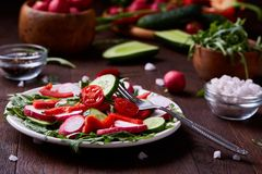 Fresh red radish in wooden bowl among plates with vegetables, herbs and spicies, top view, selective focus. Fresh red radish in wooden bowl among plates with Royalty Free Stock Photos