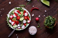 Fresh red radish in wooden bowl among plates with vegetables, herbs and spicies, top view, selective focus. Fresh red radish in wooden bowl among plates with Royalty Free Stock Photography