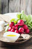 Fresh red radish on the wooden table. Selective focus Royalty Free Stock Image