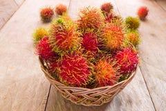 Fresh red rambutan   Stock Photo