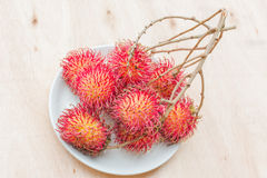 Fresh red rambutan Royalty Free Stock Images