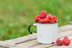 Fresh red raspberries in mug on wooden background. Fresh red raspberries in mug on wooden table on  blurred natural background Royalty Free Stock Photo