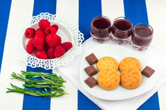 Fresh Red Raspberries on a white artistic plate stock photos