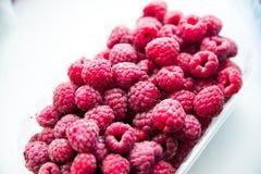 Fresh red raspberries Stock Photos