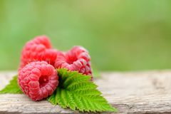Fresh red raspberries on wooden background. Fresh red raspberries on wooden table on  blurred natural background Royalty Free Stock Photo