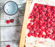 Fresh red raspberries in a wooden box,raw healthy food Royalty Free Stock Photo