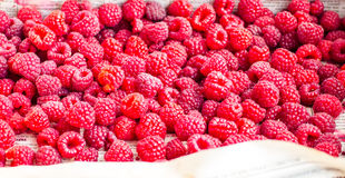 Fresh red raspberries in a wooden box,raw healthy food Royalty Free Stock Images