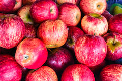 Fresh red ripe apples background Stock Photo