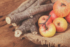 Fresh red ripe apples and  firewoods on wooden table Stock Photos