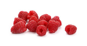 Fresh red ripe raspberries on white, close up Stock Photos