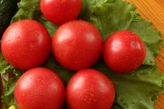 Fresh red ripe tomatoes with water drops lie on a lettuce leaves. View from above Stock Photo