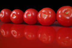 Fresh red Roma tomatoes on red table and black background, copy Royalty Free Stock Image