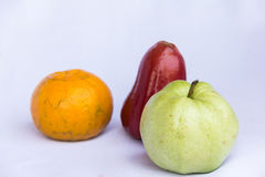 Fresh red rose apple,orange and green guava clean fruit Stock Image