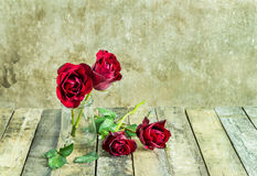 Fresh red rose in glass bottle on a wooden background Stock Images