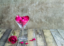 Fresh red rose in glass on wooden background Royalty Free Stock Photography